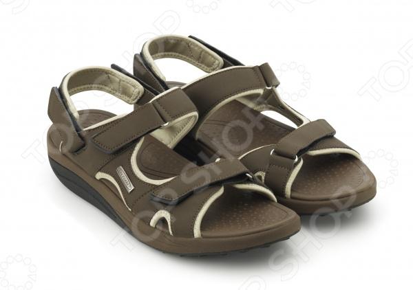 Вокмакс сандалии на липучках мужские коричневые.